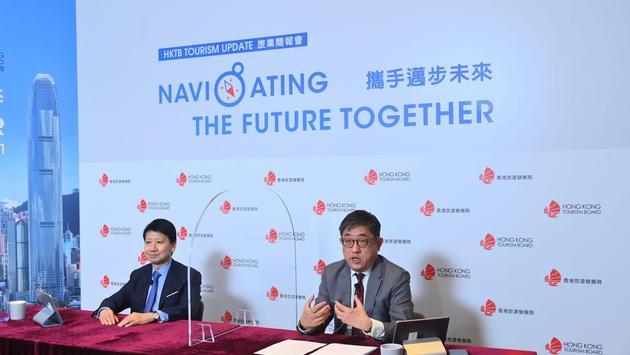 Hong Kong Tourism Board Chairman Y.K. Pang, left, and Executive Director Dane Cheng