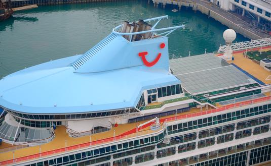 A docked TUI cruise ship