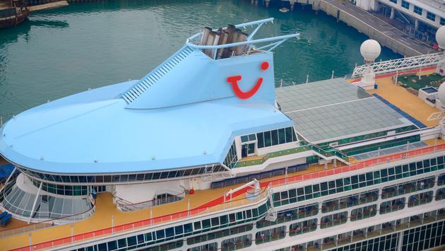 A docked TUI cruise ship