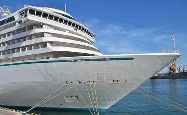 A docked cruise ship