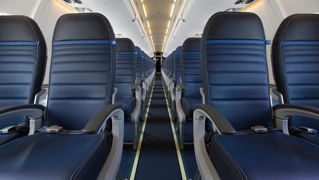 United Economy Plus seats in a Bombardier CRJ700 aircraft