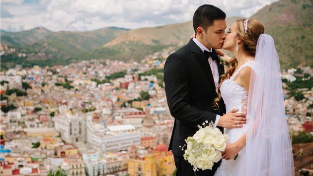 A young couple celebrating their wedding in Guanajuato, Mexico.
