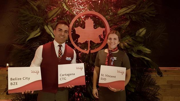 AC Rouge flight attendants Rodrigo and Fallon, were on hand at the event to help spread the news about Rouge's new destinations.