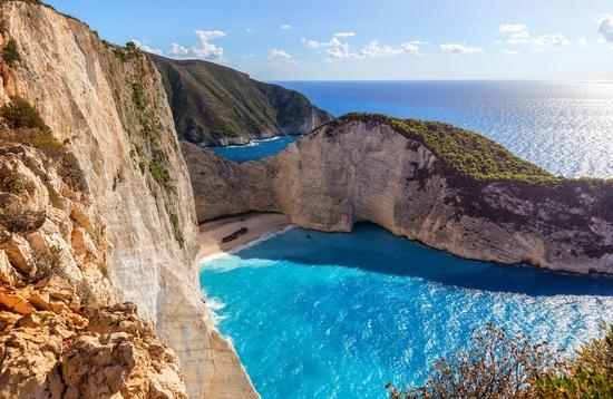 Navagio beach with blue crystal water, Zakynthos island, Greece