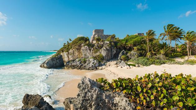 The beach and ruins of the Maya civilization in Tulum