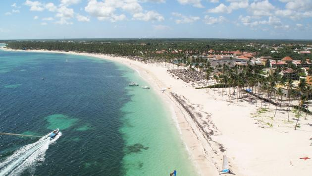 Aerial view over Bavaro Beach in Punta Cana, Dominican Republic