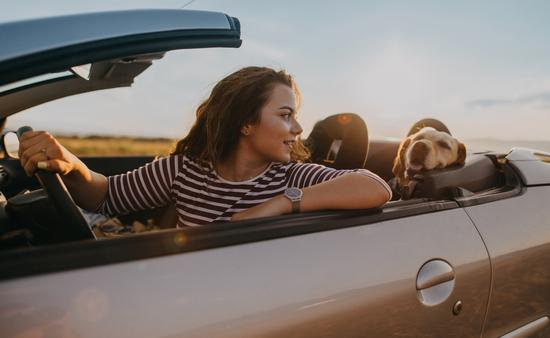 Young woman traveling by car with her dog.