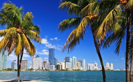 Skyline in Miami, Florida.