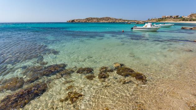 Paranga Beach on the island of Mykonos, Greece
