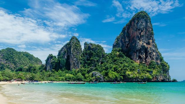 Tropical Thai Beach in Railay Bay, Krabi, Thailand