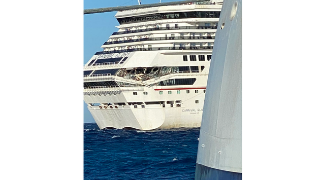 The Carnival Glory following an accident.
