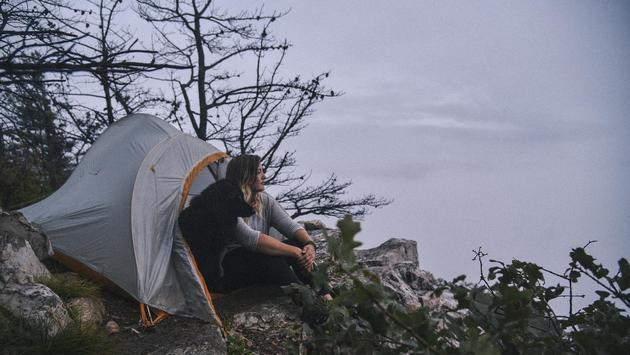 A camper enjoying the views in Shenandoah National Park