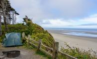 A campsite at Kalaloch Campground in Olympic National Park