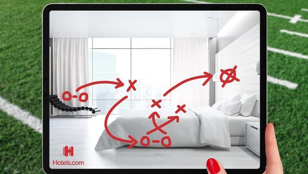 super bowl, hotels.com, hotel room, football