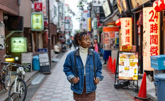 Traveler exploring the streets of Tokyo