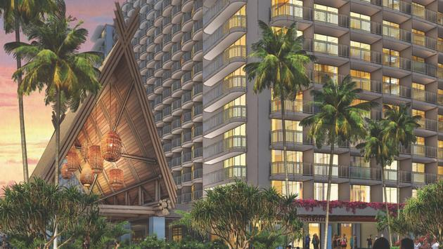 Outrigger Reef Waikiki Beach Resort's revitalized entrance.