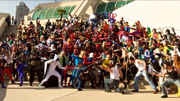 Marvel cosplay group photo at Comic-Con