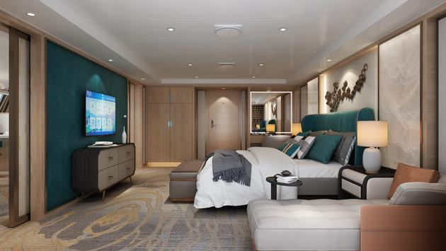 Rendering of Shangri-La Suite aboard the Victoria Sabrina.