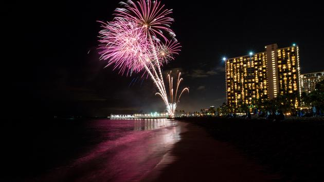Fireworks on the beach in Waikiki, Honolulu, Hawaii