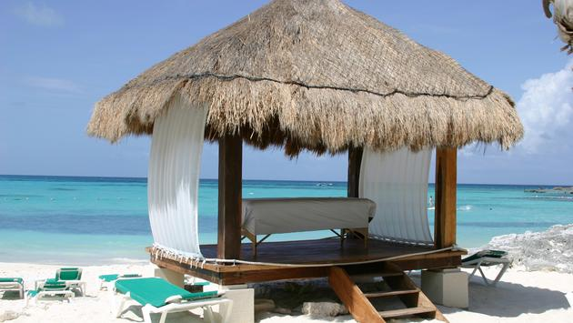 A massage table on the beach in Cancun, Mexico