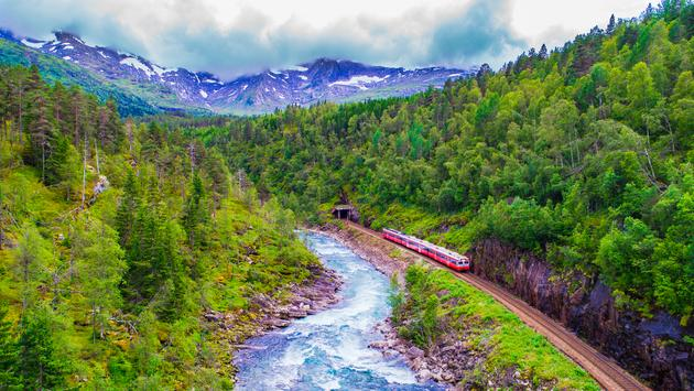 Train traveling from Oslo to Bergen, Norway.