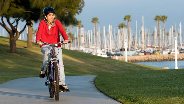 Bicycling around Rainbow Harbor in Long Beach CA