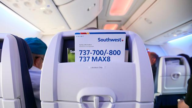 A Southwest Boeing 737 MAX 8 seatback