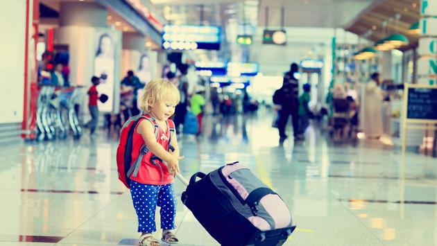 girl, suitcase, child, toddler, airport, kids travel