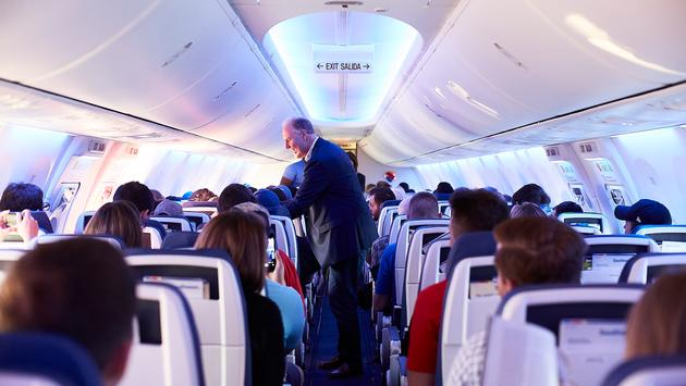 The cabin of a Southwest Boeing 737 MAX 8