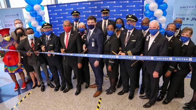 South African Tourism and United Airlines officials celebrate the launch of United's new Newark-Johannesburg nonstop route.
