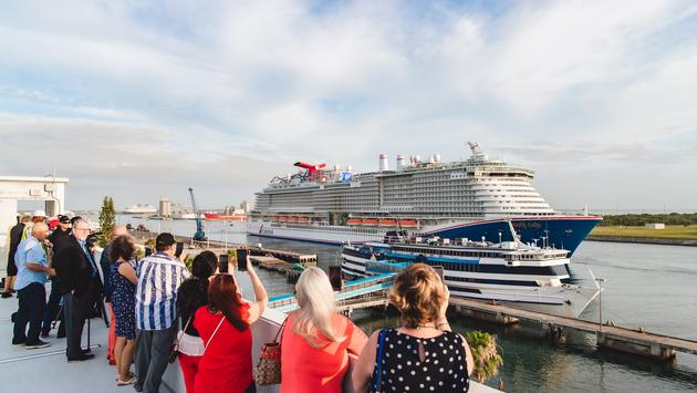 Carnival Mardi Gras enters Port Canaveral for the first time on June 4, 2021.