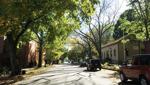 The quiet streets of Roscoe Village in Coshocton, Ohio