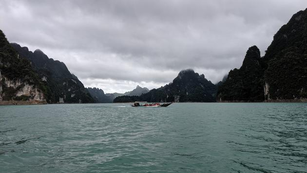 Cheow Lan Lake, lake, boats, Thailand