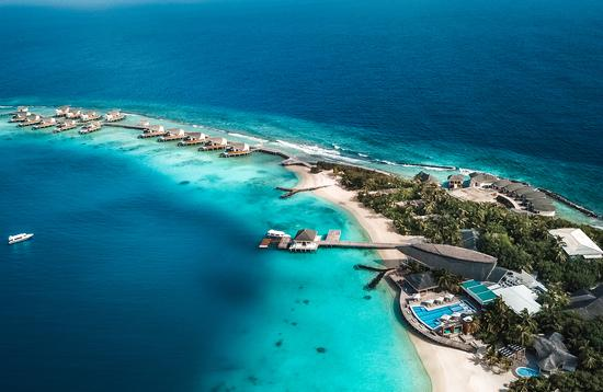 Aerial view over a resort in the Maldives.