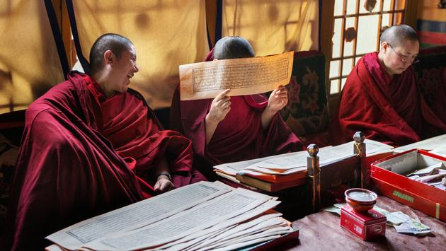 Tibetan Buddhist engage in lively debates.