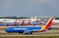 A group of Southwest airliners