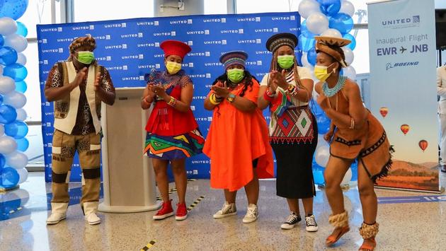 Zulu dancers at United Airlines Newark-Johannesburg New Route Launch Event.