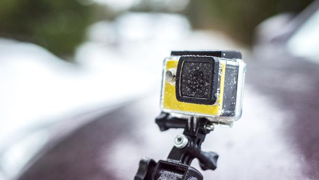 GoPro covered in rain drops.