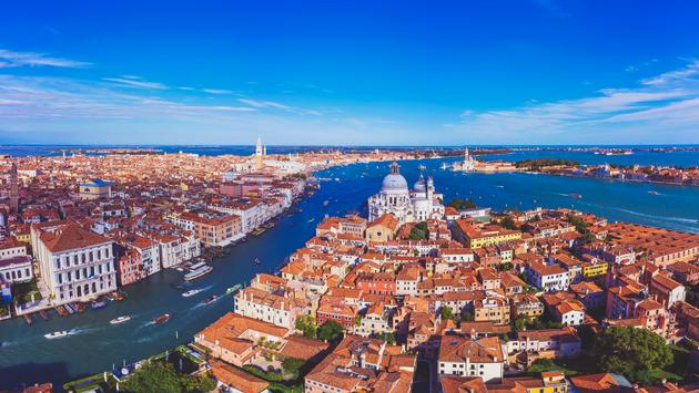 Aerial view of Venice, Italy.