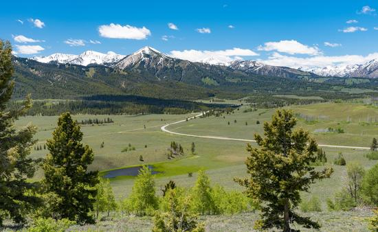 An overlook on Idaho's Sawtooth Scenic Byway