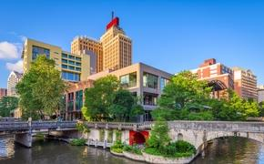 San Antonio, Texas skyline on the River Walk