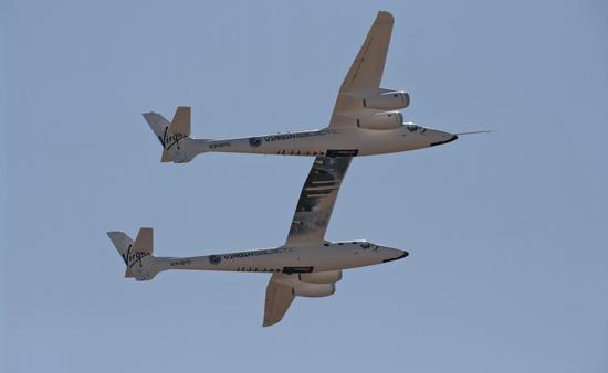 Scaled Composites White Knight Two flyover, Virgin Galactic