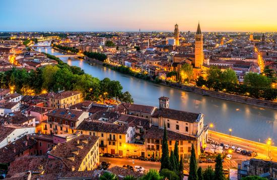 Aerial view of Verona, Italy at sunset