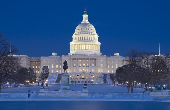 The US Capitol Building in Washington, DC during winter