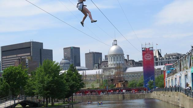 Montreal zip line down by the St. Lawrence River and Old Montreal