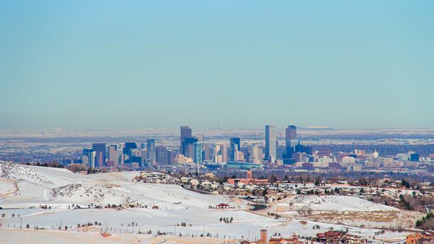 Denver, Colorado skyline during the winter