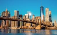 Famous Skyline of downtown New York, Brooklin Bridge and Manhattan at the early morning sun light , New York City, USA