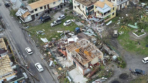 Devastation on the Caribbean island of Dominica from Hurricane Maria