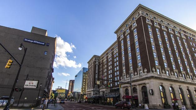 The Amway Grand Plaza hotel in Downtown Grand Rapids, Michigan