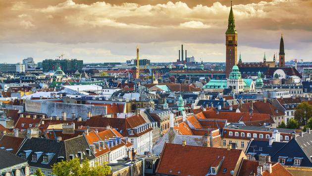 Aerial view of the Copenhagen, Denmark skyline